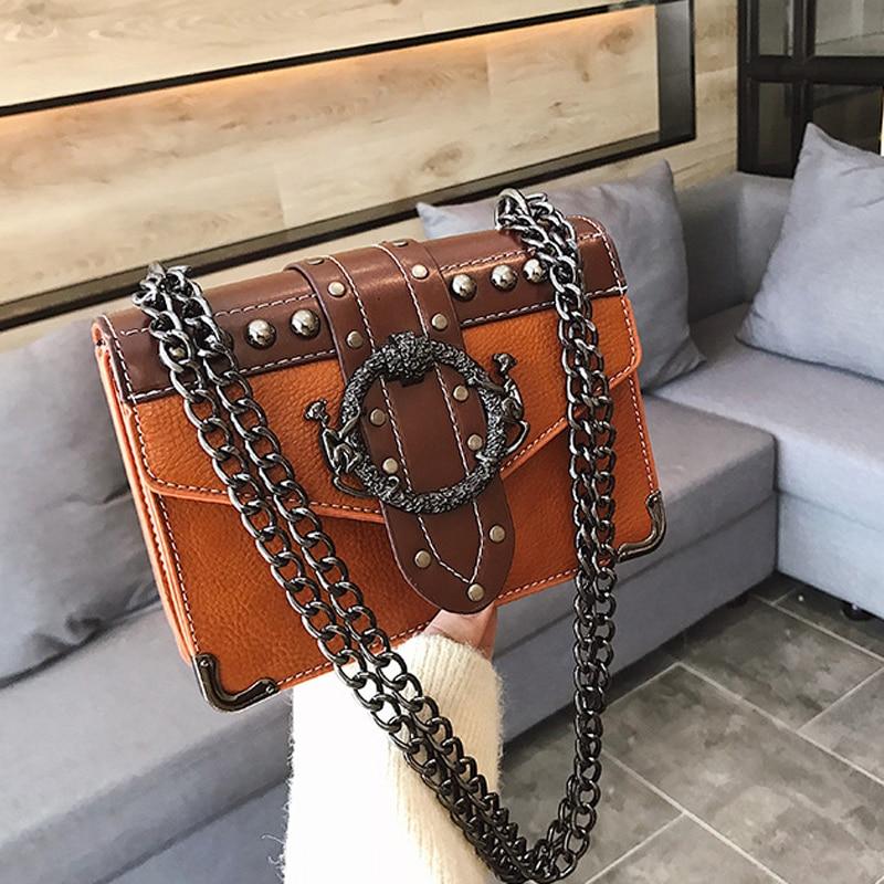 New Quality PU Leather Women's Designer Handbag 2021 European Fashion Female Square Bag Rivet Lock Chain Shoulder Messenger bags