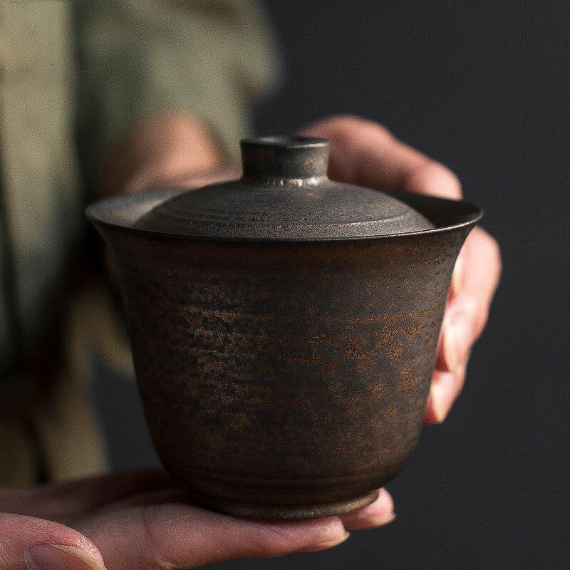 185 مللي اليابانية نمط اليدوية السيراميك أقداح الشاي Gaiwan الصينية الكونغ فو الشاي مجموعات Drinkware المنزلية الشاي مجموعة الشاي مجموعة اكسسوارات