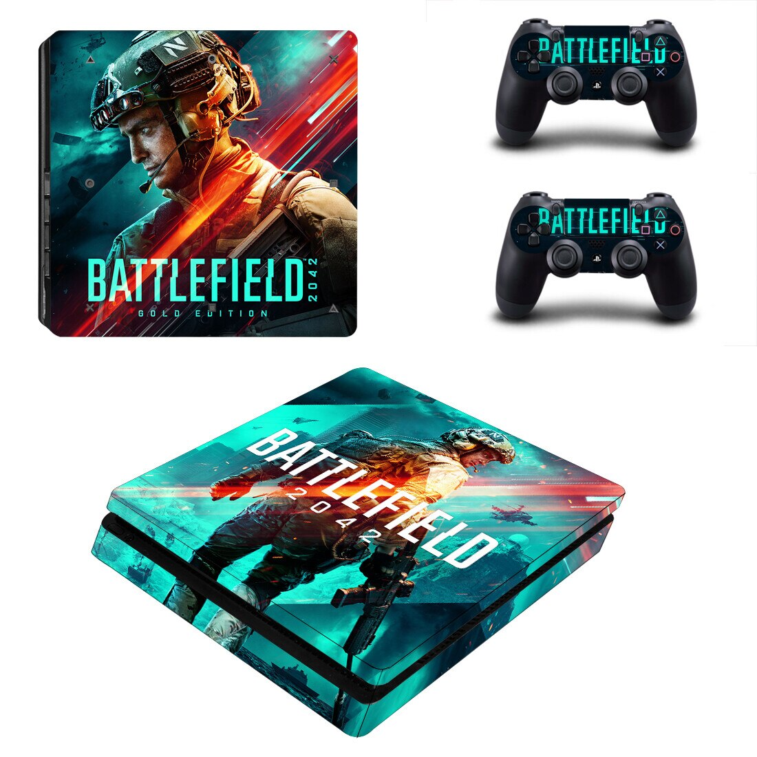 Battlefield 2042 PS4 Slim Skin Sticker For Sony PlayStation 4 Console and Controllers PS4 Slim Skins Sticker Decal Vinyl