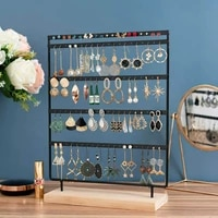 earrings holder 5 layers jewelry organizer display tree earrings stand with wooden base stand hanging earrings ear stud rack