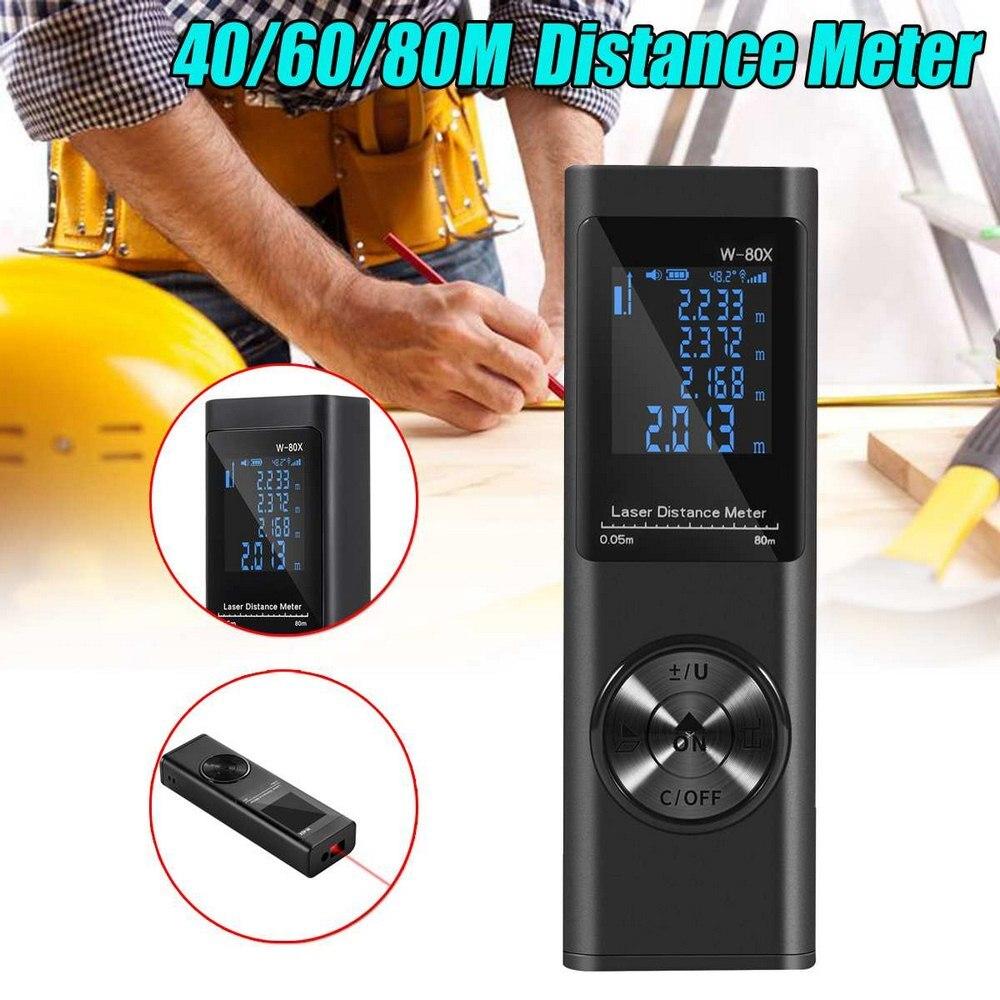 Medidor de Distância a laser USB 40/60/80M Inteligente Digital Medidor de Distância A Laser Gama Telêmetro Mini Handheld Distância medidor de medição