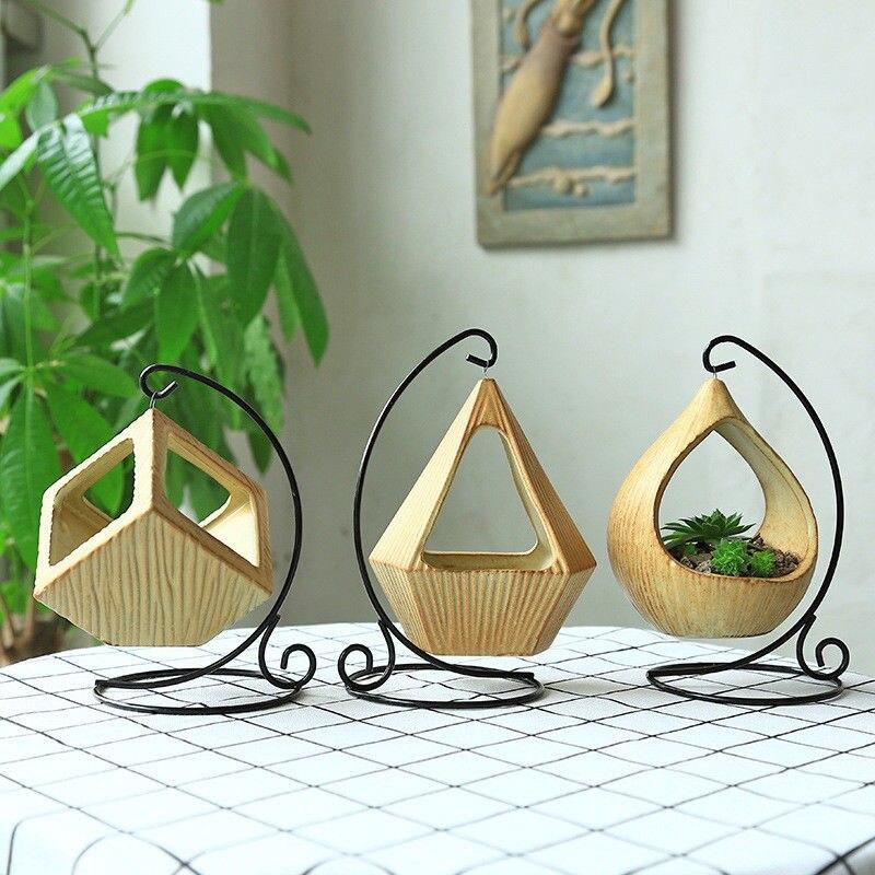 Creativo flor colgante triángulo florero contenedor plantador suculentas colgante geométrico Pot Vintage dulce decoración colgante para el hogar