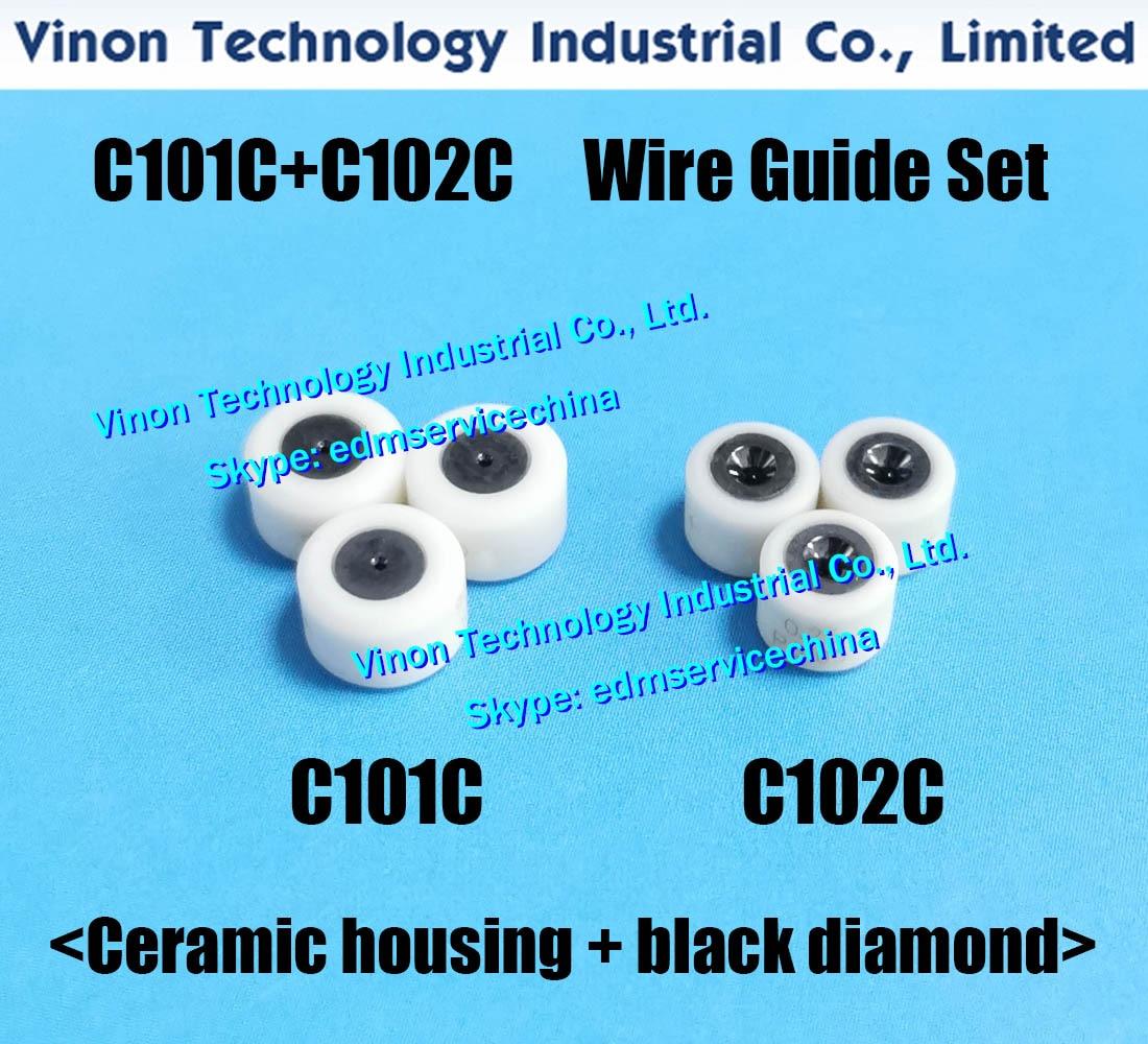 Ø0.25mm مجموعة دليل الأسلاك C101 + C102 (السيراميك الإسكان + نوع الماس الأسود) 432.511 + 430.586 ، 430.585 ، 100432511 ، 135011602 ، 100430586