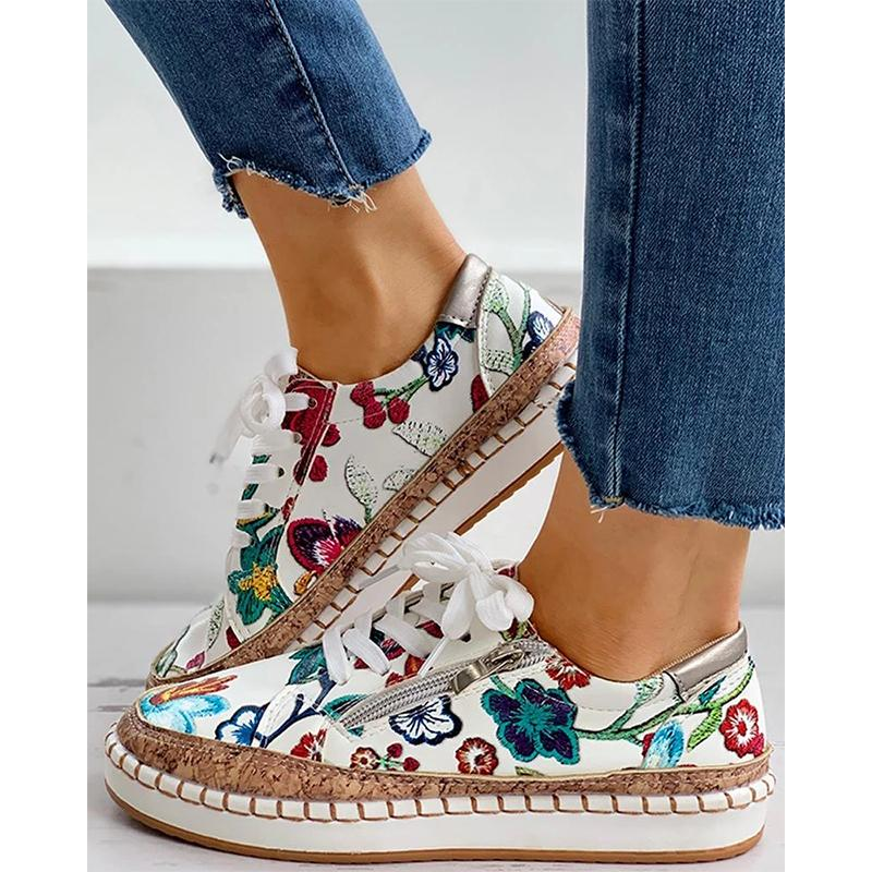 New Women Sneakers Elegant Floral Printed Lace Up Female Flat Shoes Fashion Round Toe Lady Vulcanized Shoes Women Casual Shoes