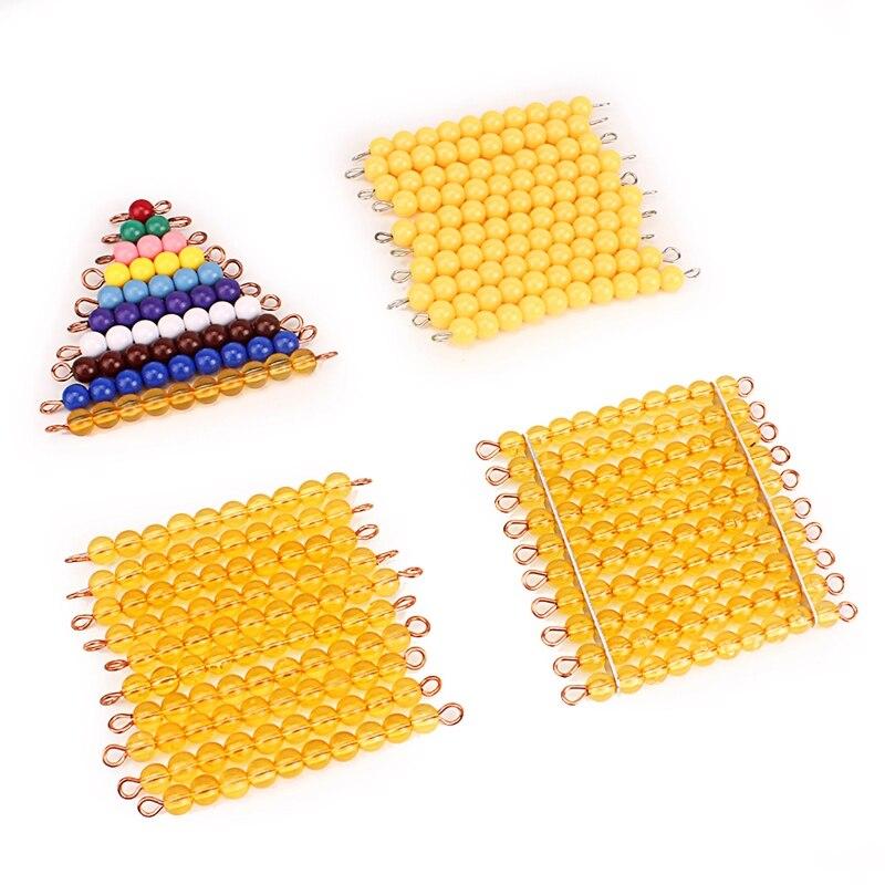 Материалы montessori математические игрушки оранжевый золотой пластиковый жемчуг, расшиты разноцветными бусинами и лестницы Золотые бусы с принтом цифры 1 до 10 лет дети дошкольного подсчета математические игрушки