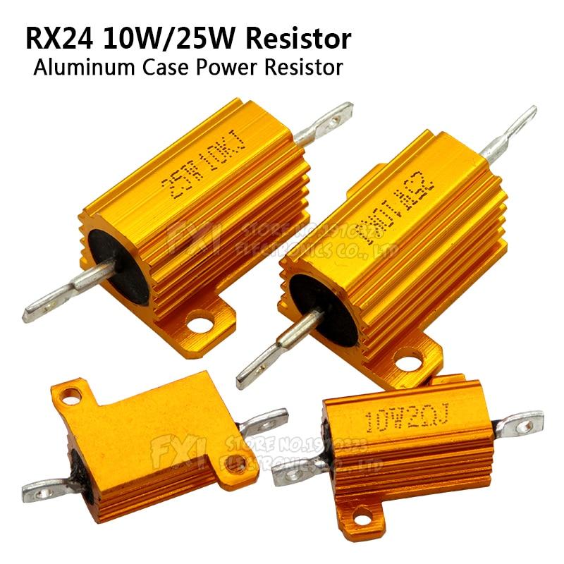 1PCS 10W 25W Aluminum Power Metal Shell Case Wirewound Resistor 0.01 ~ 30K 1 2 3 5 6 8 10 20 100 150