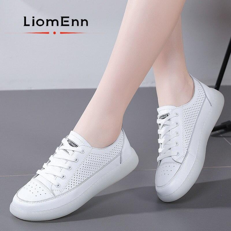 2021 السيدات جلد طبيعي أبيض أحذية رياضية النساء شقة أحذية رياضية امرأة الربيع الصيف مبركن حذاء تنيس الإناث سلة فام