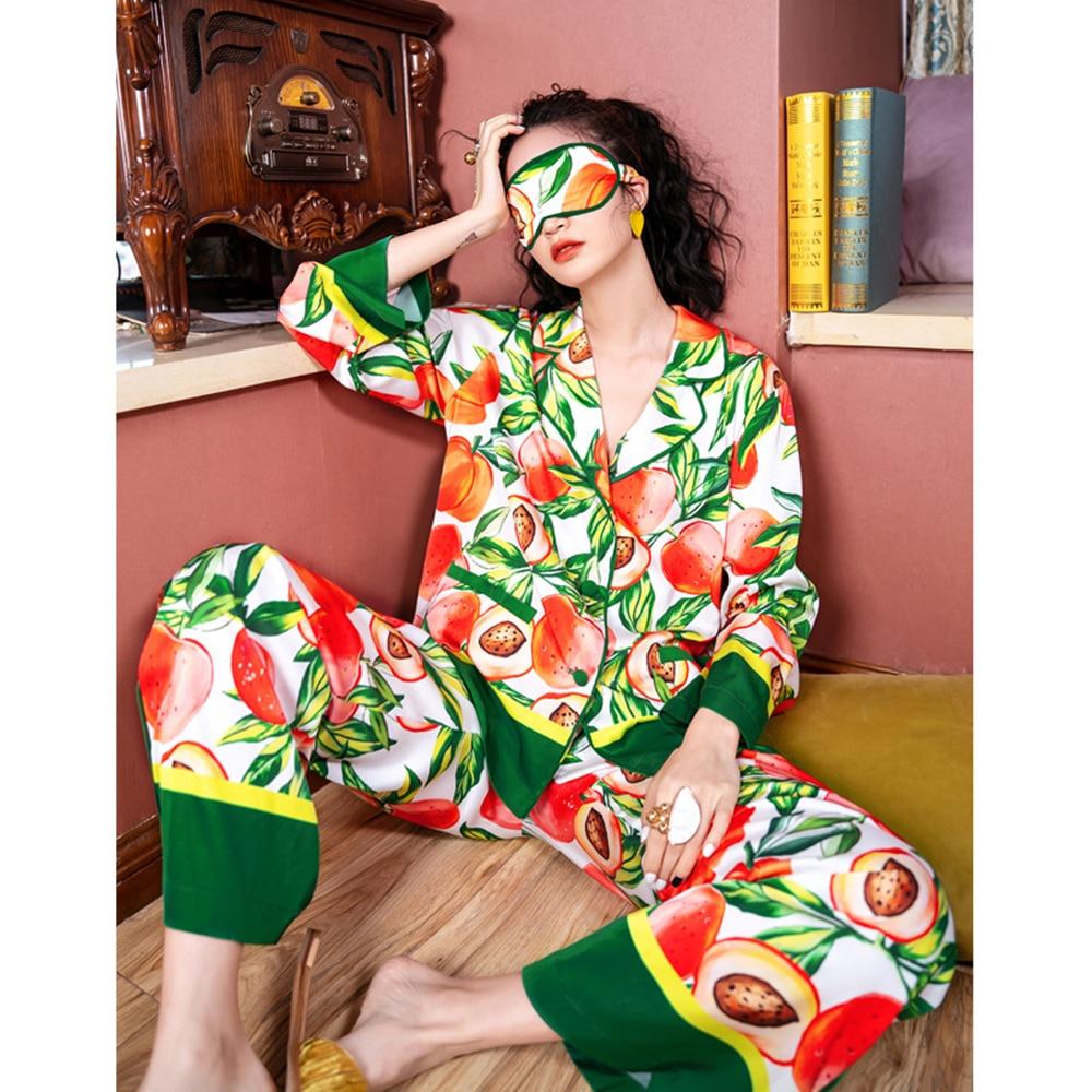 ميزون غابرييل 2021 الربيع الصيف الاستوائية مطبوعة الحرير بيجامة من الساتان مجموعة ملابس خاصة ملابس النوم للنساء بيجامة فام 2 قطعة