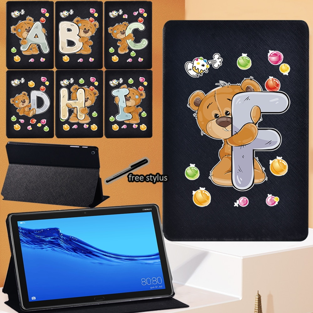 Cartoon Cute Bear Series Tablet Case for Huawei MediaPad M5 Lite 10.1 Inch/M5 10.8 Inch Leather Folio Stand Cover + Stylus