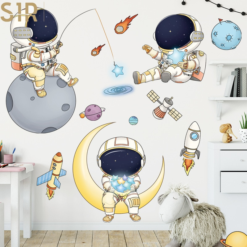 Outer Space Astronauts Wall Stickers for Children's Room Kindergarten Cosmic Starry Sky Cartoon Cute Spacecraft Waterproof Decor