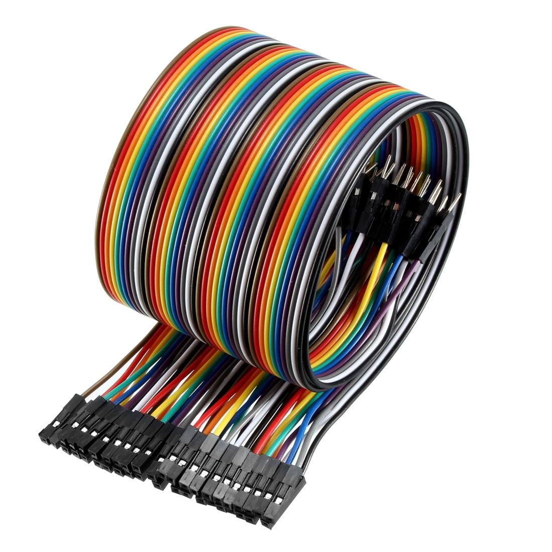 Uxcell macho para fêmea 40pin tábua de pão jumper fio 2.54mm passo fita cabo 50cm de comprimento para arduino breadboard experiência diy