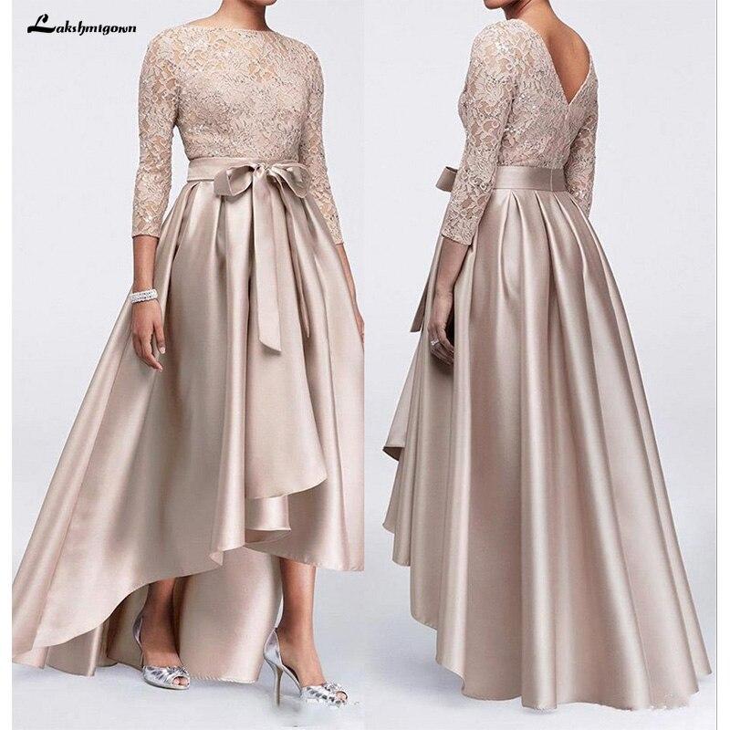 Vestidos de encaje color champán de talla grande, vestidos para madre de la novia 2020, mangas largas de satén, fajas altas y bajas, vestidos para madre del novio
