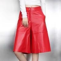 winter chic autumn womens sheepskin wide leg pants high quality genuine leather fisith pants c736