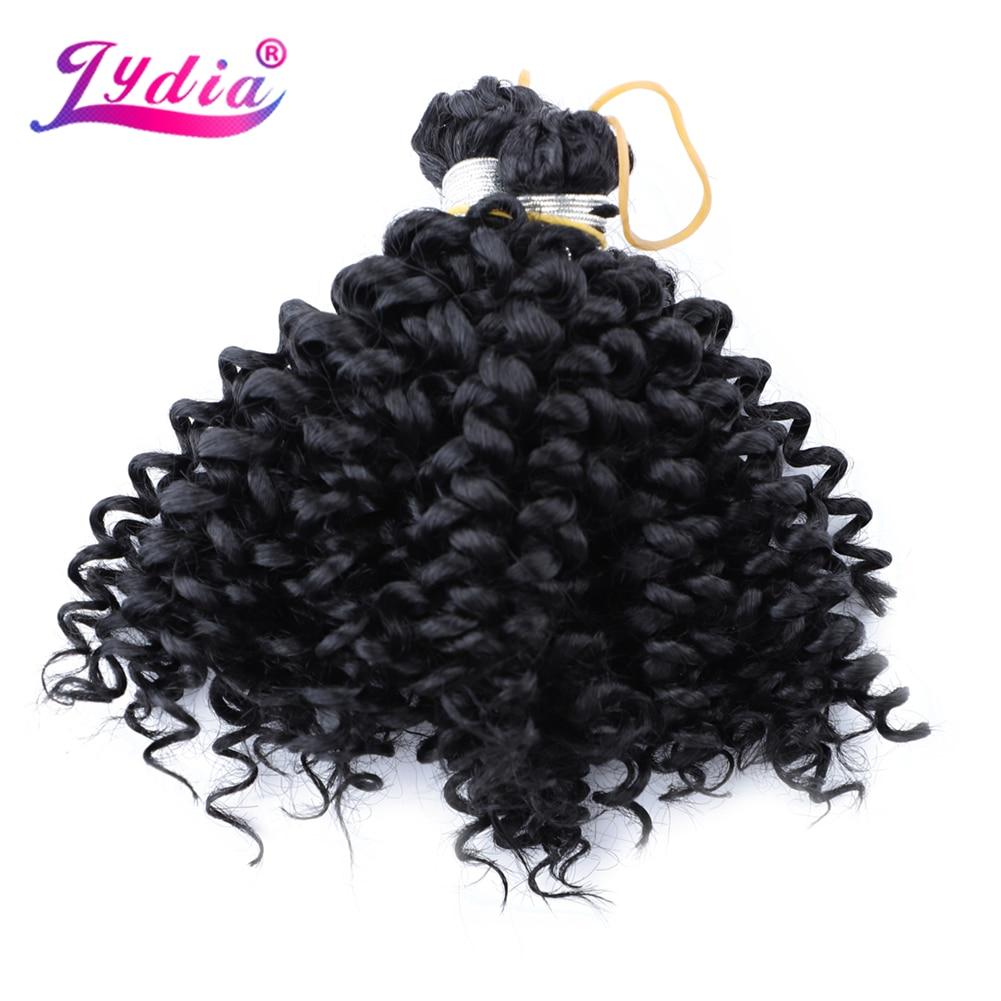"Lydia Hair Extension No Weft Crochet Hair 6"" 1PCS Pure Color Black Kanekalon Bulk Synthetic Braiding Hair Afro Kinky Curly"
