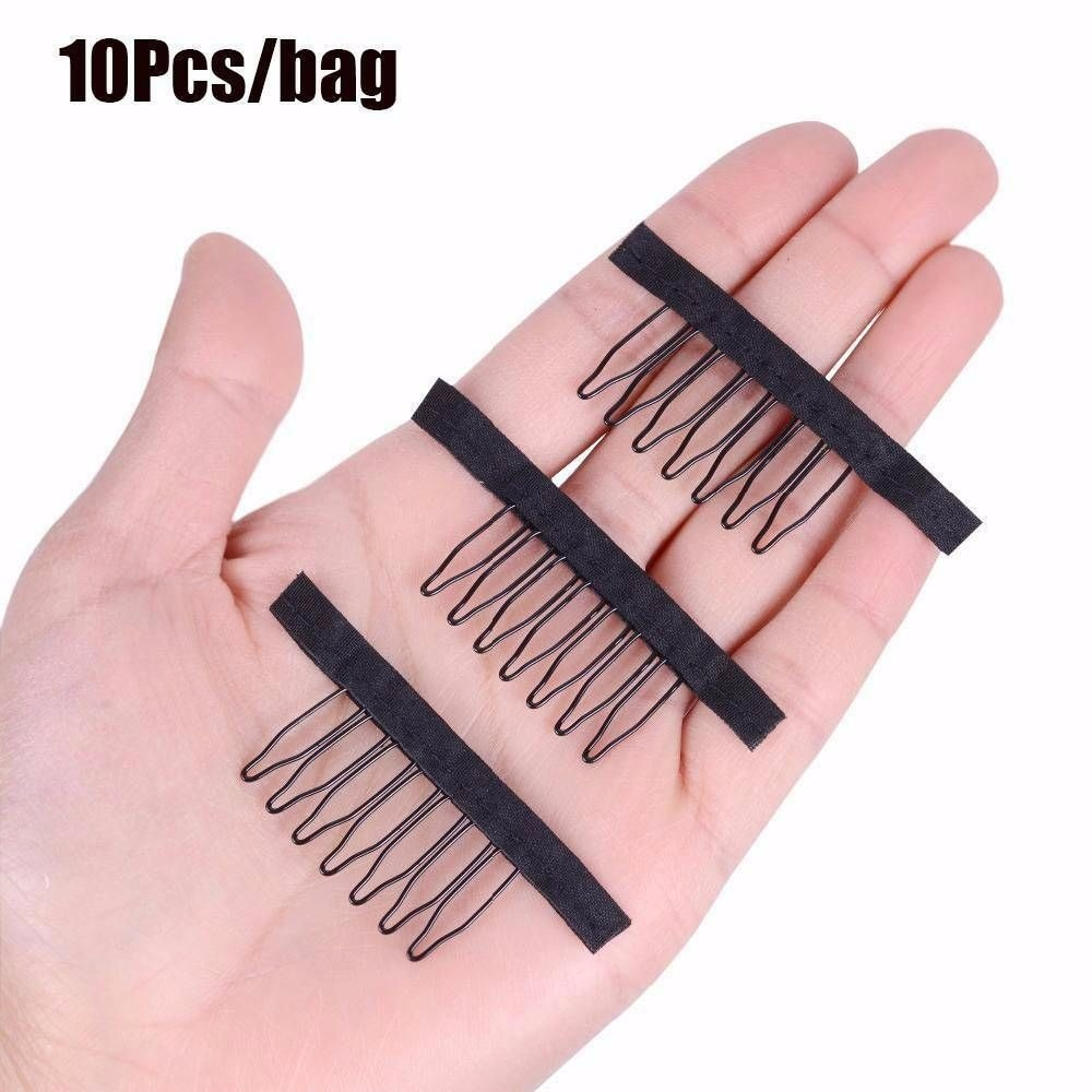 10Pcs Black Best Clips For Hair Extensions Stainless Steel Wig Combs For Wig Caps Cheap Clips Wig Factory Supply Wig Caps Clip