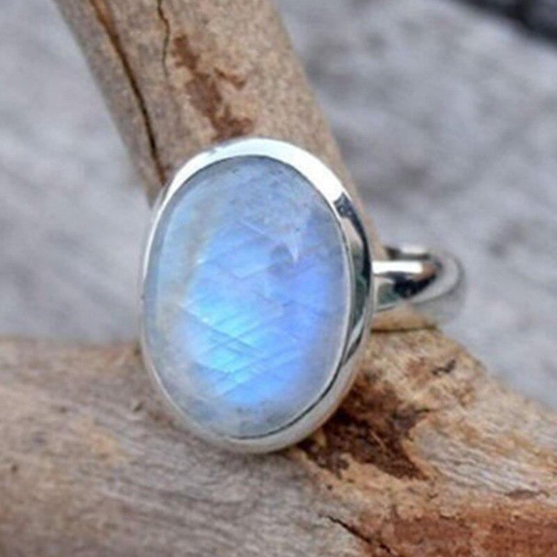 Anillos Retro de piedra lunar ovalada grande para mujer, joyería Bohemia, anillo de compromiso Punk para mujer, regalo para fiesta de boda