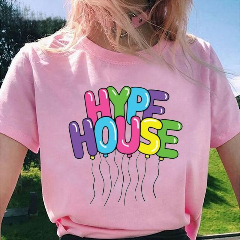 Hype House Print Women Summer T-shirts Lady Casual T-shirt Tops Harajuku Streetwear Short Sleeve O-Neck Tops Tee Camisetas Mujer