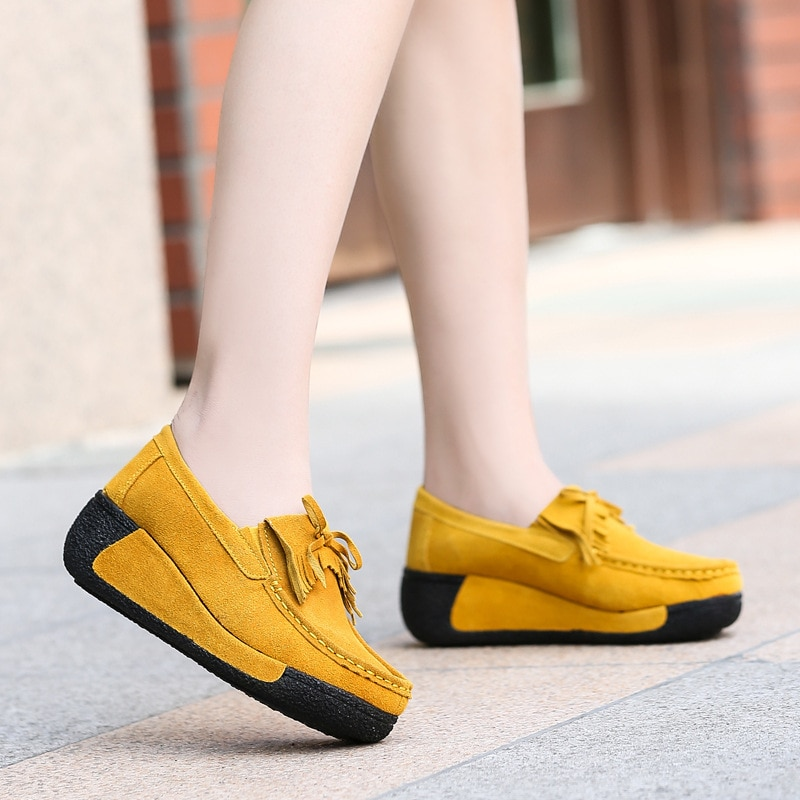 casual british style vintage thick soles platform shoes retro female harajuku lace up flat leather shoes college woven creepers Women Genuine Leather Flats Platform Loafers Woman Creepers Lace Up Driving Moccasins Female Casual Shoes