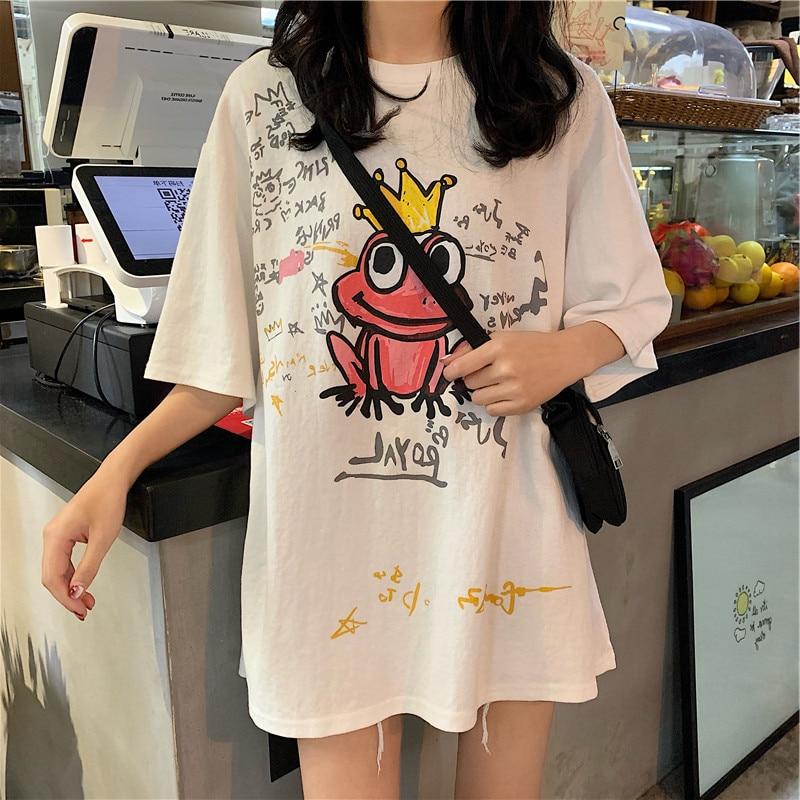 Summer Korean White Tshirts Half Sleeve Long Casual Student Harajuku Tees Top Hip Hop BF Style Funny Frog Print T Shirts Cool