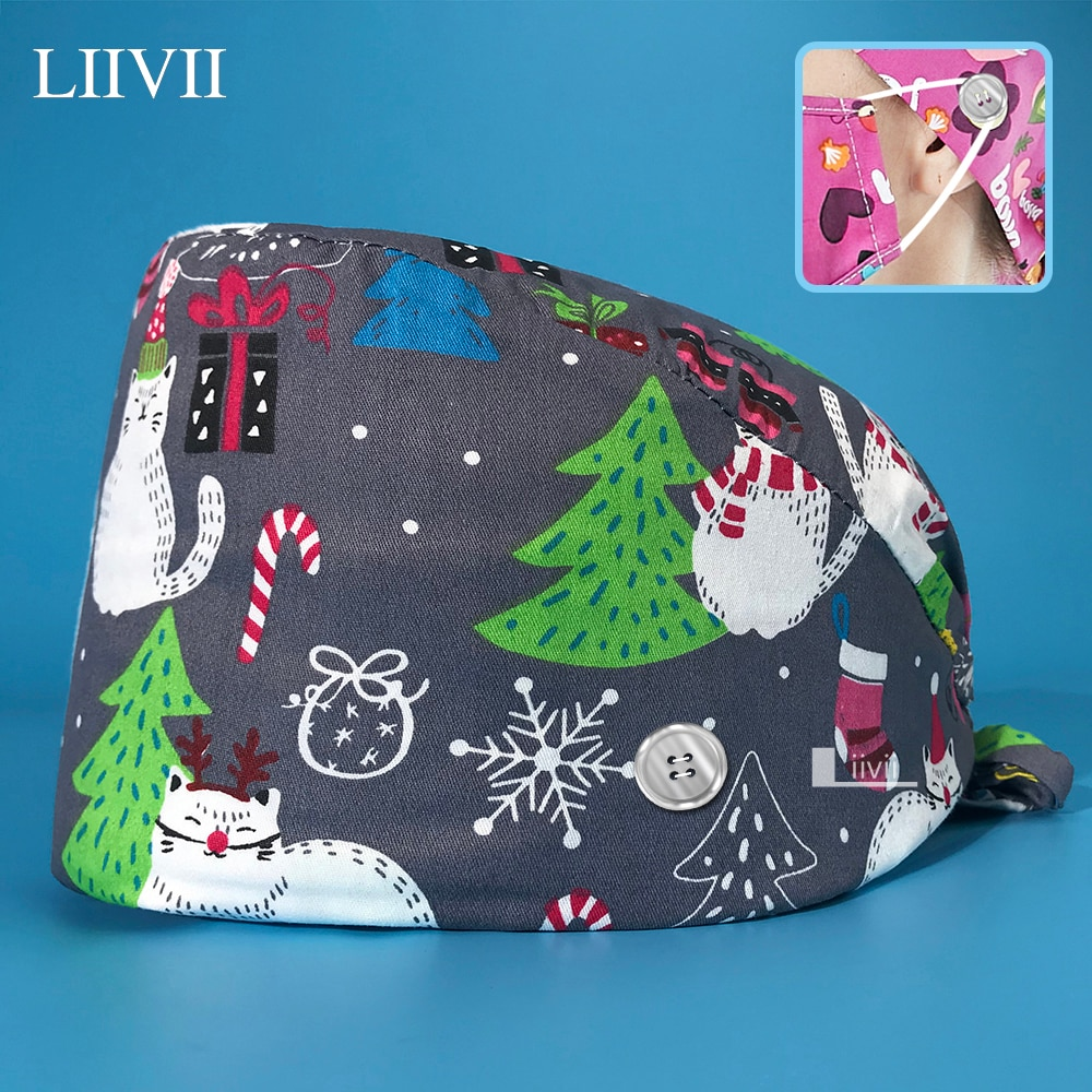 New Surgical cap high quality cotton cartoon print with button breathable surgical scrub hat unisex