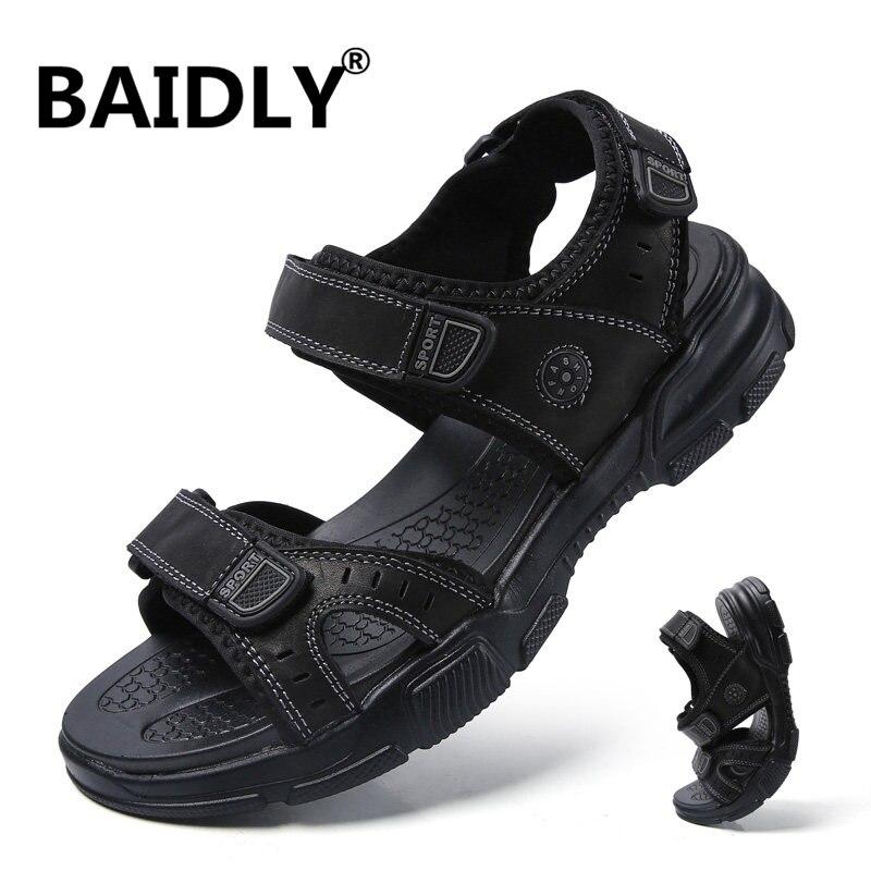 Sandalias de verano a la moda para hombres, zapatos de playa de ocio para hombres, sandalias de cuero genuino de alta calidad, zapatos de hombre para exteriores, Sandalia Masculina