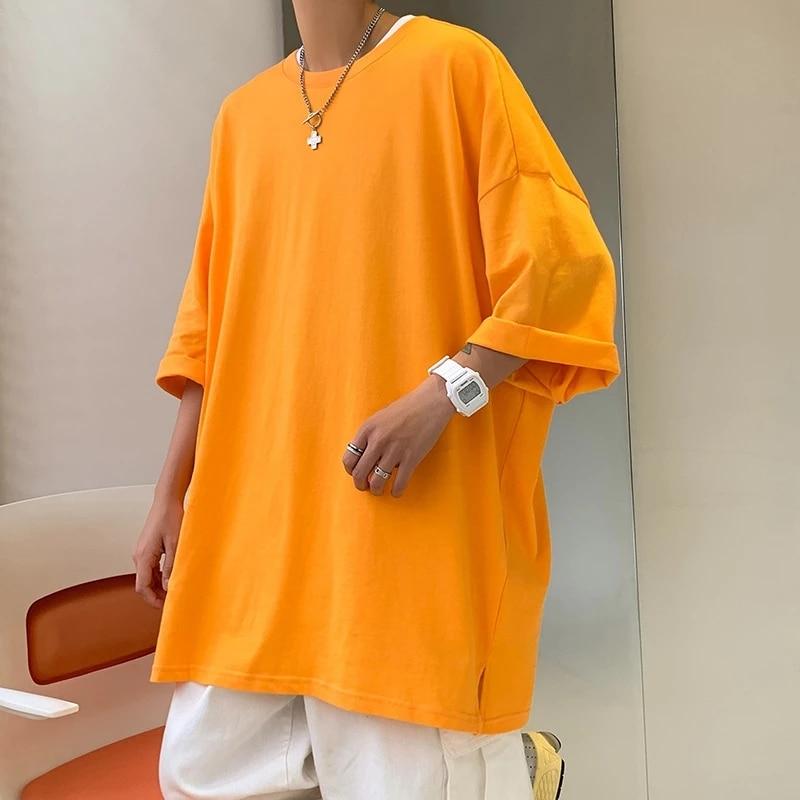 Camiseta de moda de Color sólido para hombre y camisetas Multicolor simples...