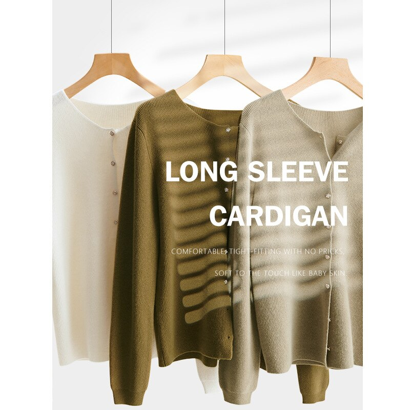 Shuchan Wool Knit Sweater Cardigan Autumn Winter New 2021 Vintage Women Autumn Fashion Cardigan O-Neck Female enlarge
