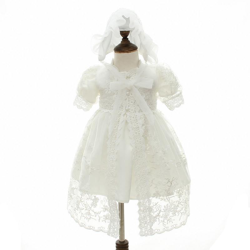 Happyplus laço do bebê menina vestido branco primeiro aniversário outfit meninas festa de bebê vestidos 2 anos baptismo vestidos para meninas do bebê princesa