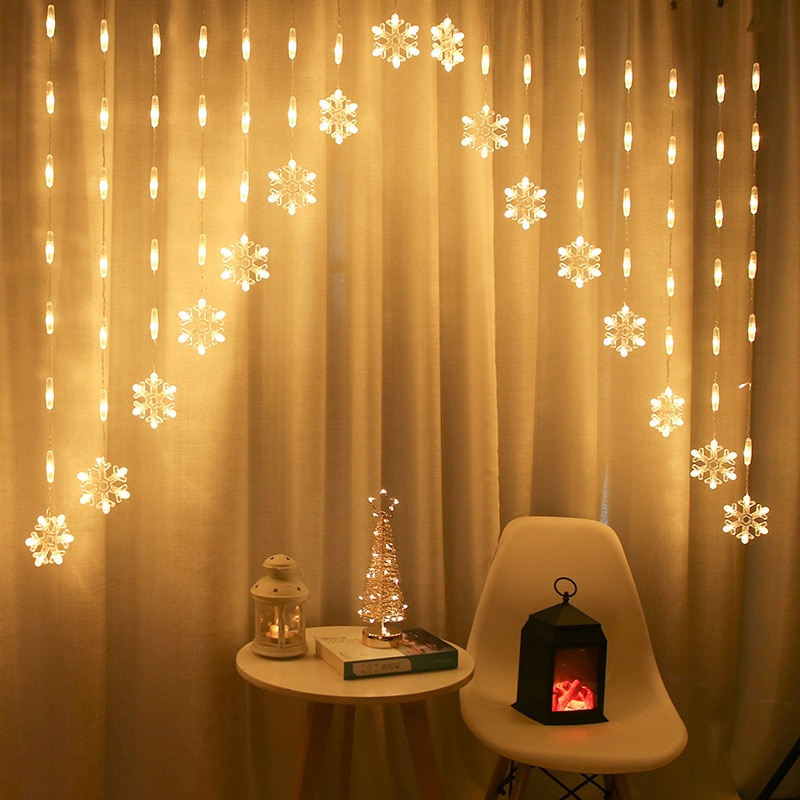 Warm White Snowflake Curtain LED Fairy String Lights Garland Christmas Decoration Holiday Lighting Xmas Wedding Party Decorative christmas garland rattan with christmas ornaments for christmas xmas decoration home warm white lighting shop window display