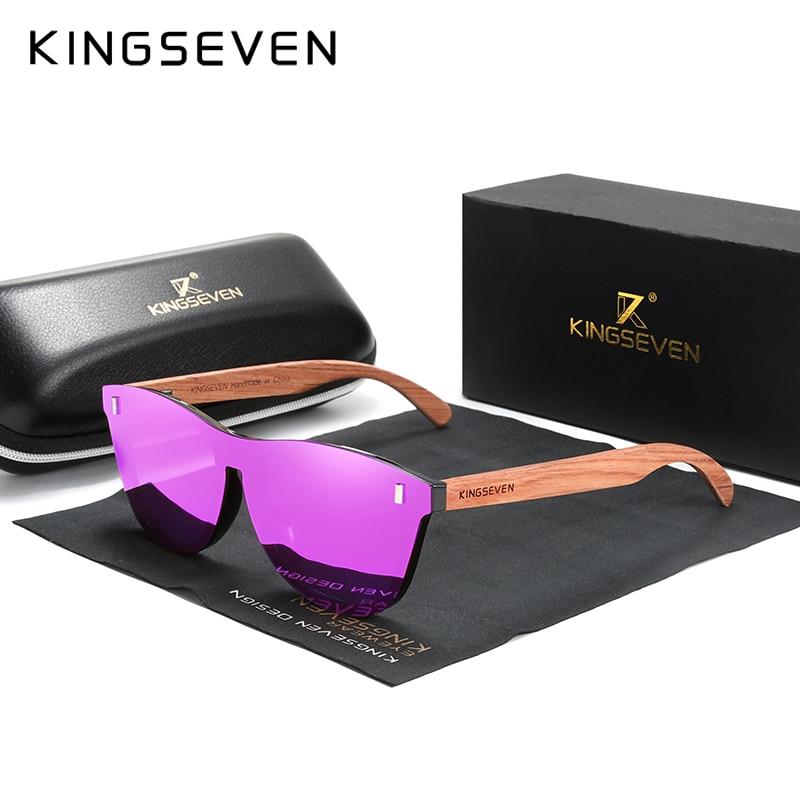 KINGSEVEN Women's Glasses Natural Bubinga Wooden Sunglasses Men Polarized Fashion Sun Glasses Original Wood Oculos de sol