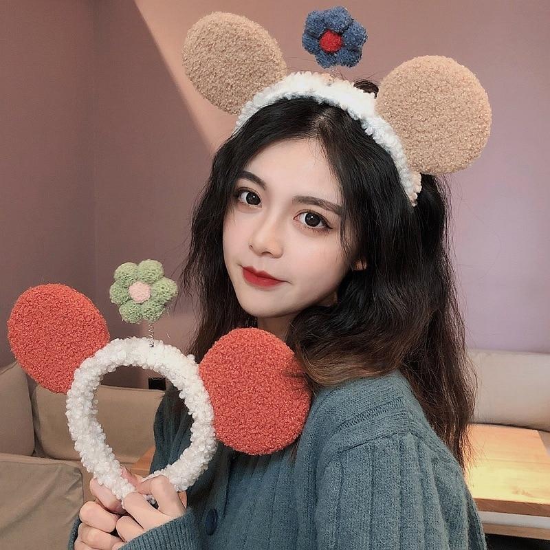 Haimeikang New Fashion Bezel Hair Hoop Headwear Korea ins Cute Bear Ears Flower Headband Female Non-slip Hair Accessories
