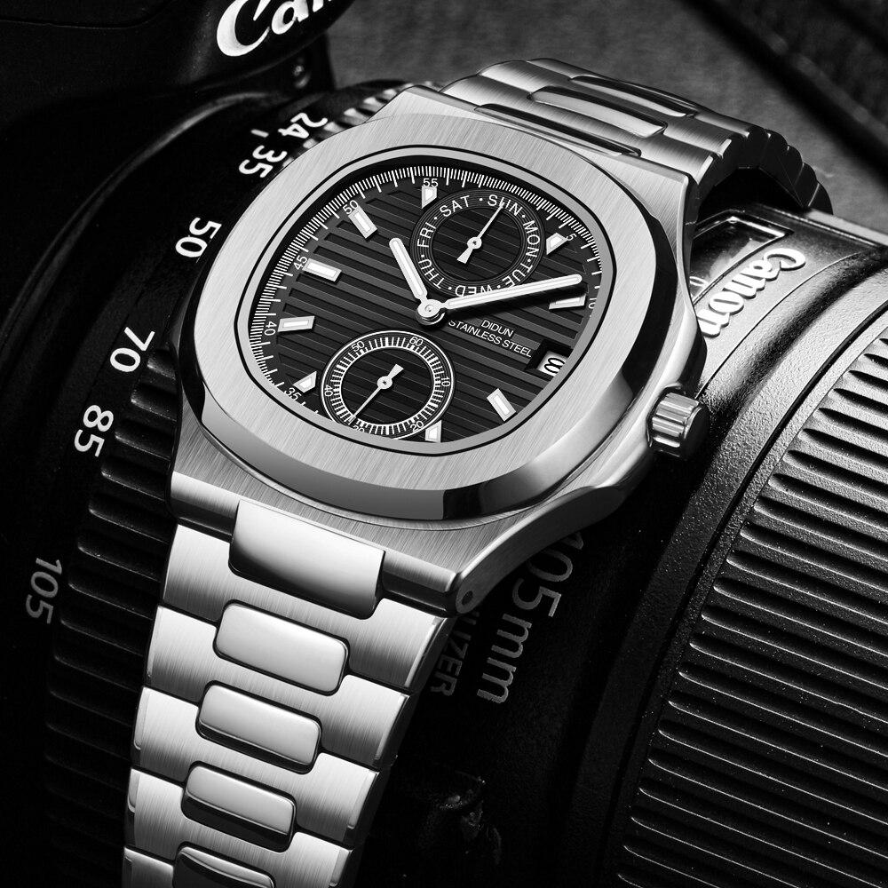 Часы DIDUN мужские наручные кварцевые, роскошные брендовые водонепроницаемые спортивные с хронографом