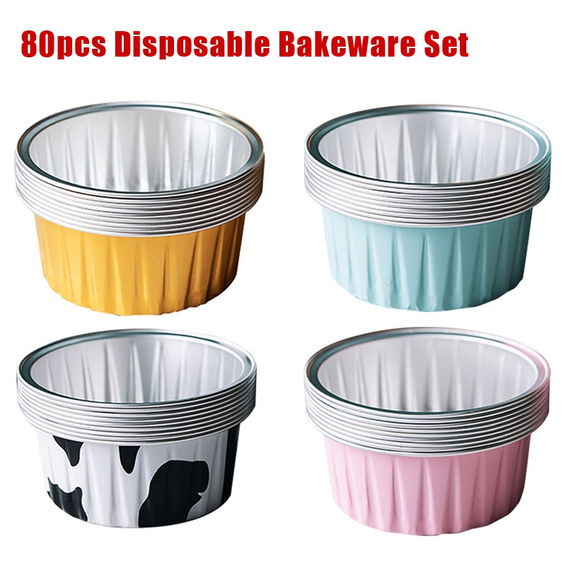 Papel de aluminio desechable Mini tarta molde para pasteles y magdalenas Sartenes para cupcakes tarta de huevo hornear tazas herramientas de hornear natillas tazas 125ml