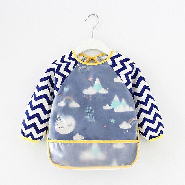 Baby Kids Toddler Long Sleeve Scarf Waterproof Art Smock Feeding Bib Apron Pocket Infant Boys Girls Burp Cloth Banana Bibs 10