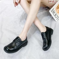 british style small leather shoes loafers female 2021 spring new black retro working womens shoes student single shoes