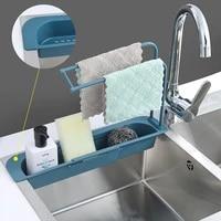 telescopic sink kitchen drainer rack storage basket bag faucet holder adjustable bathroom holder sink kitchen accessories