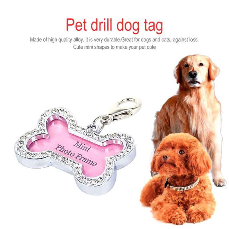 Diy cão de estimação filhote de cachorro anti-perdido cartão personalizado forma de osso animais de estimação id nome tag endereço pingente cachorro colar acessórios para animais de estimação