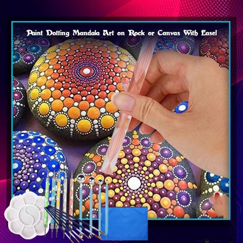 20PCS Pattern Dotting Tools Set Stone Painting Kit Pen Brushes Stencil Drawing Art Shapers Paintbrush stain-proof rust-free