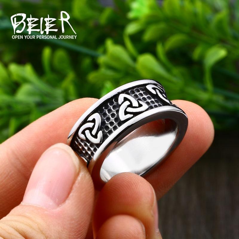 Кольцо для викинга Beier, из нержавеющей стали, амулет Викинга, простое и стильное Скандинавское кольцо Odin LR513 для мужчин и женщин