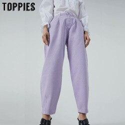 Topies denim calças femininas de cintura alta harem calças 2020 calças de brim soltas plus size calças femininas casual streetwear pantalon femme