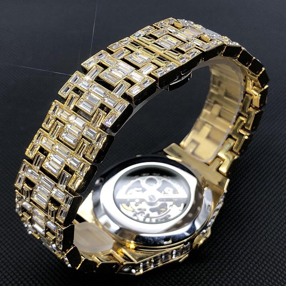 MISSFOX Hip Hop Mechanical Watches For Men Diamond Royal OAK Gold Automatic Wristwatch Classic AAA Men Jewelry Relógio masculino enlarge