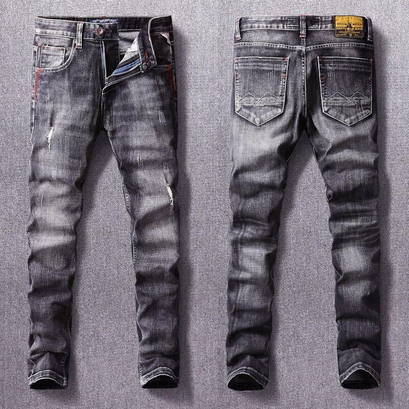 Европейские винтажные модные мужские джинсы, ретро черные серые зауженные рваные джинсы, мужские потертые Дизайнерские повседневные джинс...