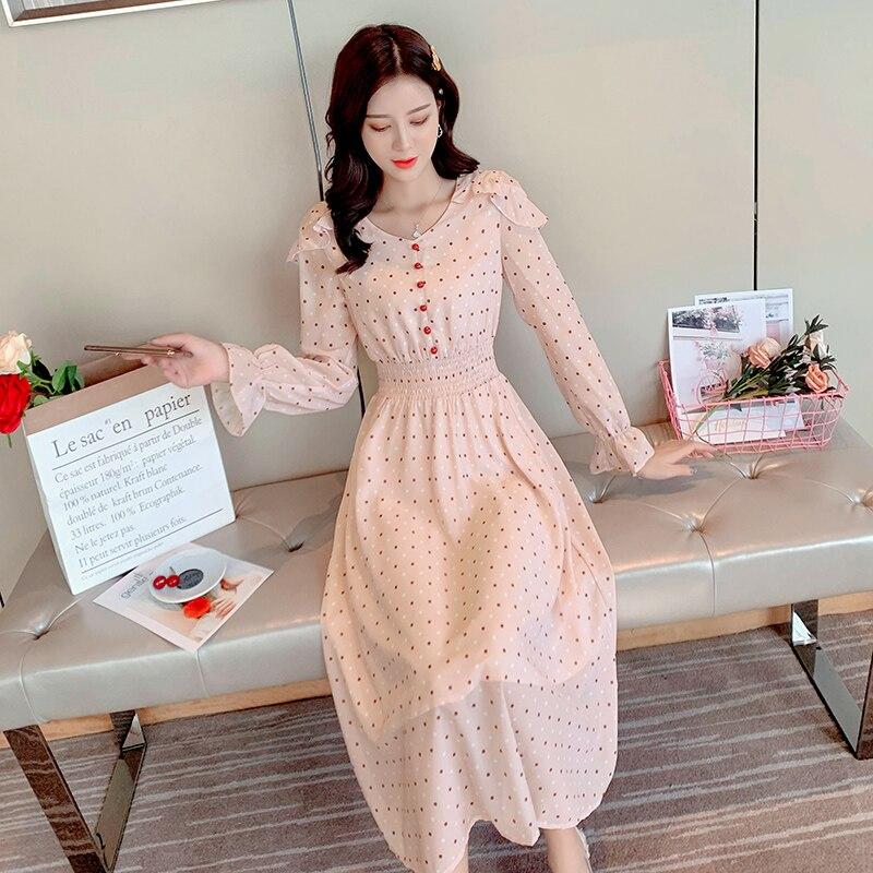 Moda feminina do vintage fino elegante férias robe soiree femme sino manga longa fábrica direta férias vestido de bolinhas