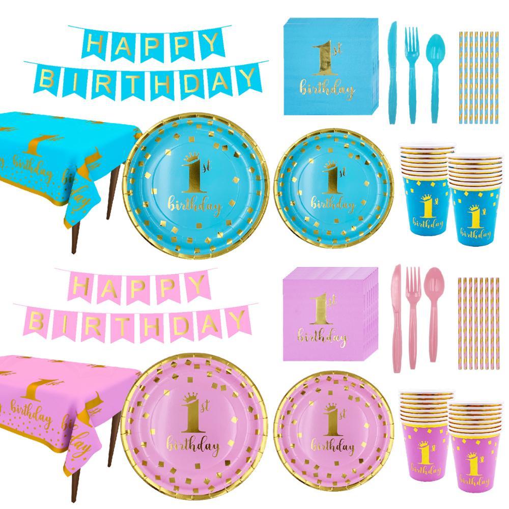 135 Uds. Juego de vajilla desechable primer Feliz cumpleaños plato azul Rosa pajitas servilletas taza Baby Shower 1 año decoración de fiesta de cumpleaños