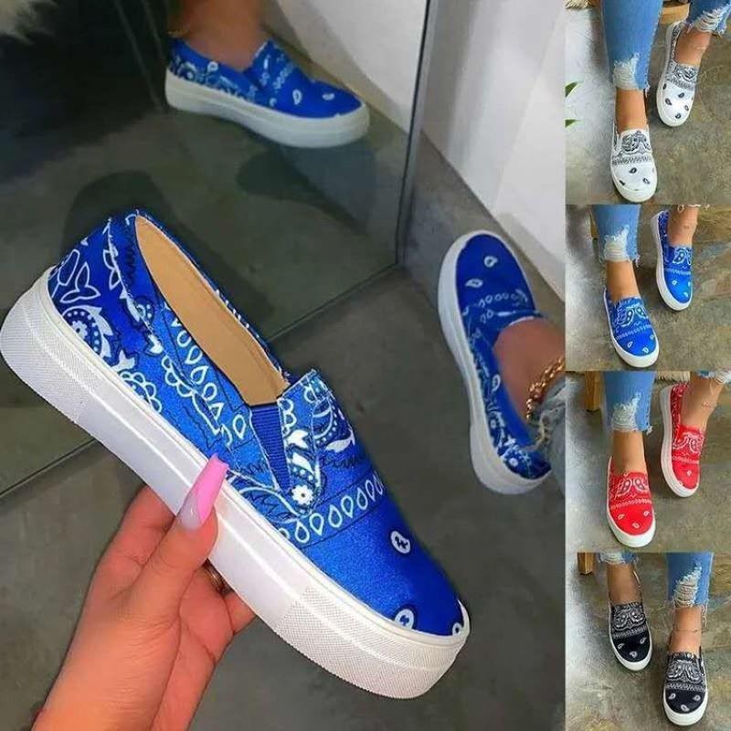 2021 Women Canvas Ladies Autumn Casual Loafers Flat Platform Hand Painted Pattern Women's Flats Soft Shoes Women Big Size 35-42
