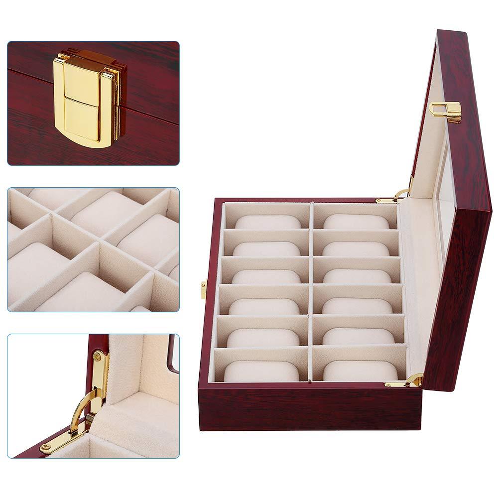 Caixa de Relógio de Madeira Caixa de Relógio Titular para Relógios Novo Luxo Organizador Masculino Vidro Superior Jóias Caixas 2 3 5 12 Grades Relógio