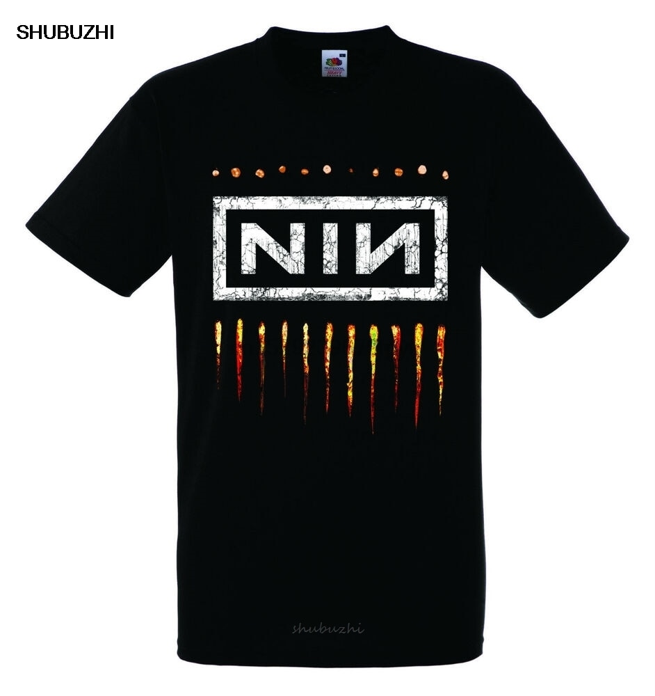 NIN NINE INCH NAILS LOGOTIPO 2 Preto Novo T-shirt Camisa Da Banda de Rock T-shirt do Rock t-shirt da forma dos homens do algodão marca teeshirt