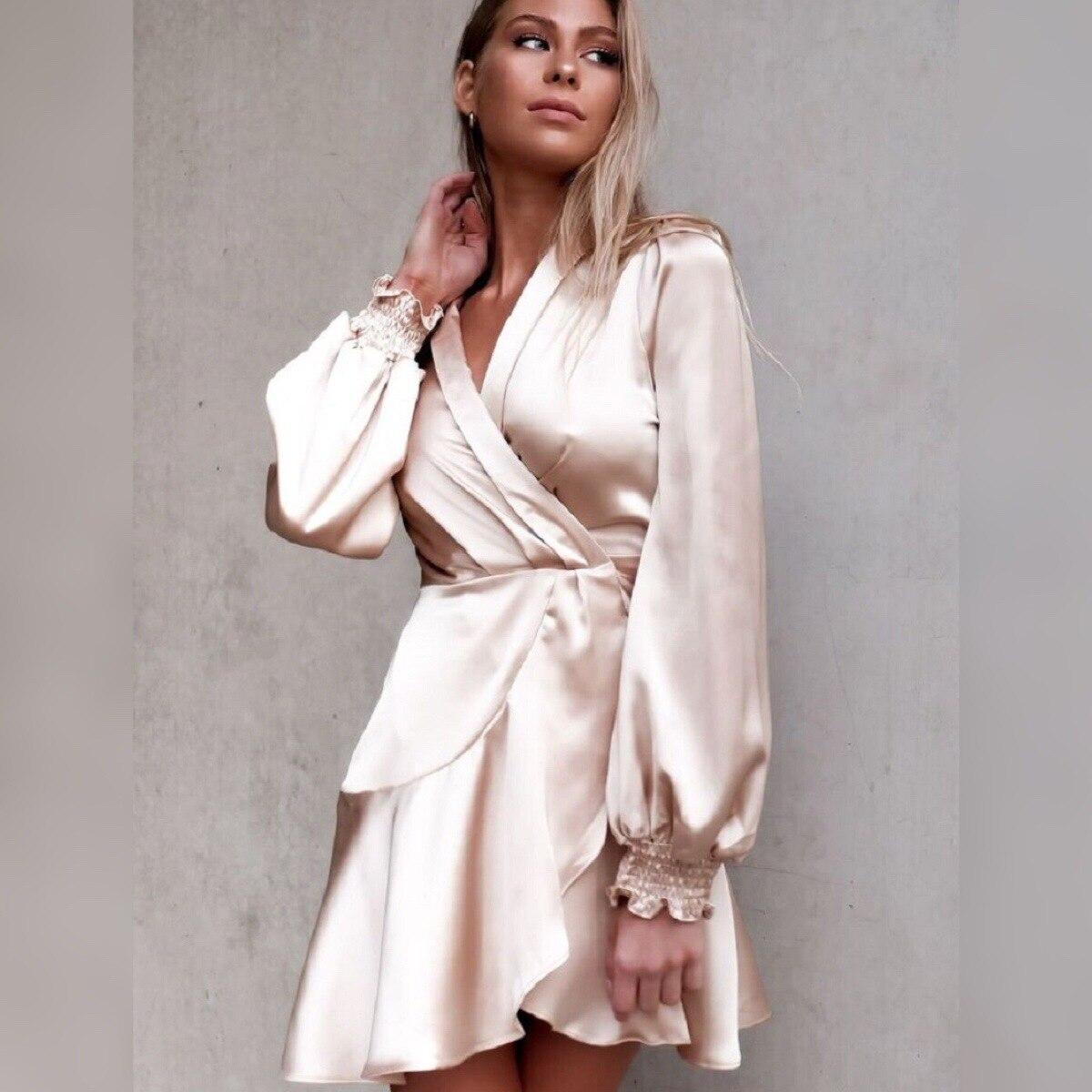 Women Elegant Satin Ruffles Mini Dress Long Sleeves V-neck Solid Pink Holiday Short Dresses New Party Robe Femme Vestidos