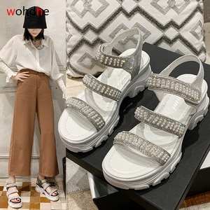wohdhe Casual Thick Bottom Women Sports Sandals White Summer Shoes Pearl Rome Peep Toe Sandals 2020 New Platform Sandals