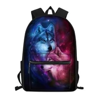 fashion childrens school canvas backpack fantasy wolf pattern students book bags cute animal prints travel backpacks